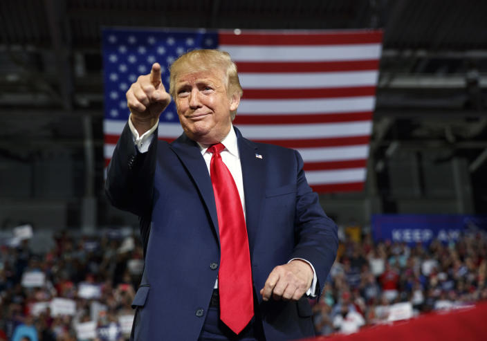 FILE - In this Wednesday, July 17, 2019 file photo, President Donald Trump gestures to the crowd as he arrives to speak at a campaign rally at Williams Arena in Greenville, N.C. Former President Donald Trump repeated false claims that the election was stolen from him 10 times during interviews this week on Fox News Channel, Newsmax and One America News Networks. The claims were unprompted but also unchallenged in each case. (AP Photo/Carolyn Kaster, File)