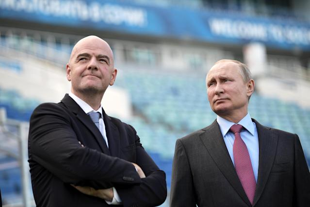 Russian President Vladimir Putin (R) and FIFA President Gianni Infantino visit the Fisht Stadium, which will host matches of the 2018 FIFA World Cup in Sochi, Russia May 3, 2018. Sputnik/Aleksey Nikolskyi/Kremlin via REUTERS ATTENTION EDITORS - THIS IMAGE WAS PROVIDED BY A THIRD PARTY.
