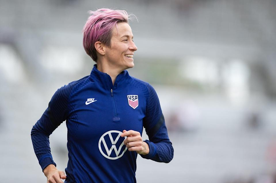 """<p>Soccer player Megan Rapinoe is a two-time Olympian and World Cup champion, who in recent years, has become a leader on and <em>off</em> the field, rallying around causes including <a href=""""https://www.popsugar.com/fitness/fascinating-facts-about-megan-rapinoe-47310006"""" class=""""link rapid-noclick-resp"""" rel=""""nofollow noopener"""" target=""""_blank"""" data-ylk=""""slk:racial justice"""">racial justice</a> and <a href=""""https://www.popsugar.com/fitness/megan-rapinoe-talks-to-house-representatives-on-equal-pay-48235803"""" class=""""link rapid-noclick-resp"""" rel=""""nofollow noopener"""" target=""""_blank"""" data-ylk=""""slk:equal pay"""">equal pay</a>. But as far back as 2012, Rapinoe has been an advocate for the LGBTQ+ community. """"<a href=""""https://www.out.com/travel-nightlife/london/2012/07/02/fever-pitch"""" class=""""link rapid-noclick-resp"""" rel=""""nofollow noopener"""" target=""""_blank"""" data-ylk=""""slk:I feel like sports in general are still homophobic"""">I feel like sports in general are still homophobic</a>, in the sense that not a lot of people are out,"""" Rapinoe told <strong>Out</strong>, in the first interview where the soccer phenom openly said that she's gay. """"People want - they <em>need</em> - to see that there are people like me playing soccer for the good ol' U.S. of A.""""</p>"""