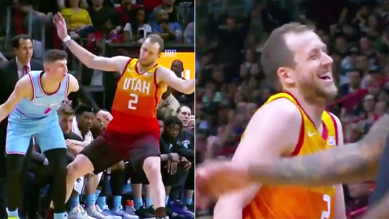 Joe Ingles laughing after he flopped against Tyler Herro. (Images: Twitter)