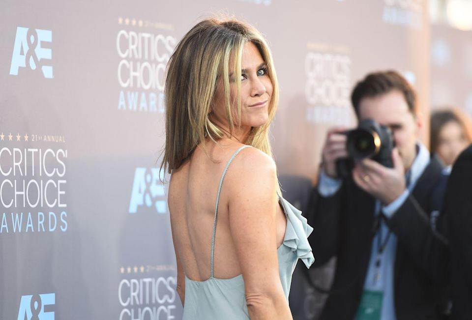 <p>Jen showed a little sassiness on the red carpet for the Critics' Choice Awards in 2016. She was nominated that year in the Best Actress category for <em>Cake</em>.<br></p>