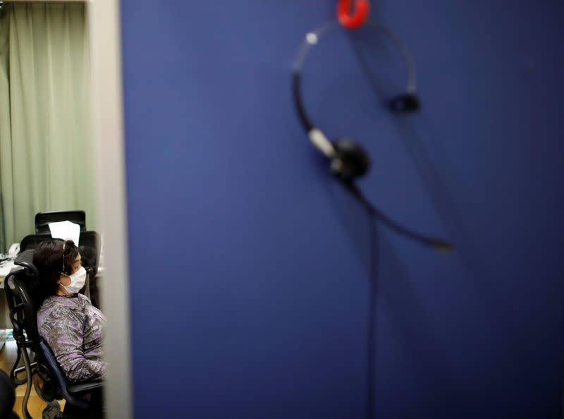 A corded headset attached to a phone is seen at a Tokyo's suicide hotline center, during the spread of the coronavirus disease (COVID-19), in Tokyo