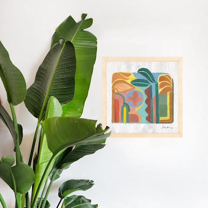 """This abstract, leafy beauty comes from the queen of boho decor and design herself, <a href=""""https://www.architecturaldigest.com/story/justina-blakeney-has-been-painting-almost-every-day-in-quarantine?mbid=synd_yahoo_rss"""" rel=""""nofollow noopener"""" target=""""_blank"""" data-ylk=""""slk:Justina Blakeney"""" class=""""link rapid-noclick-resp"""">Justina Blakeney</a>. $60, Jungalow. <a href=""""https://www.jungalow.com/collections/justina-blakeney/products/outside-art-print-by-justina-blakeney"""" rel=""""nofollow noopener"""" target=""""_blank"""" data-ylk=""""slk:Get it now!"""" class=""""link rapid-noclick-resp"""">Get it now!</a>"""
