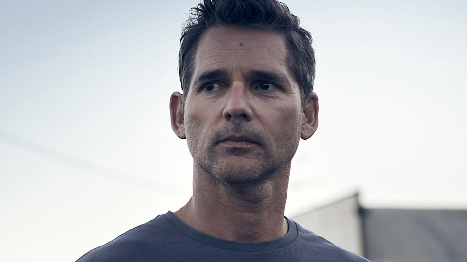 Eric Bana in character as Aaron Falkon the set of the film, The Dry. Photo: Roadshow.