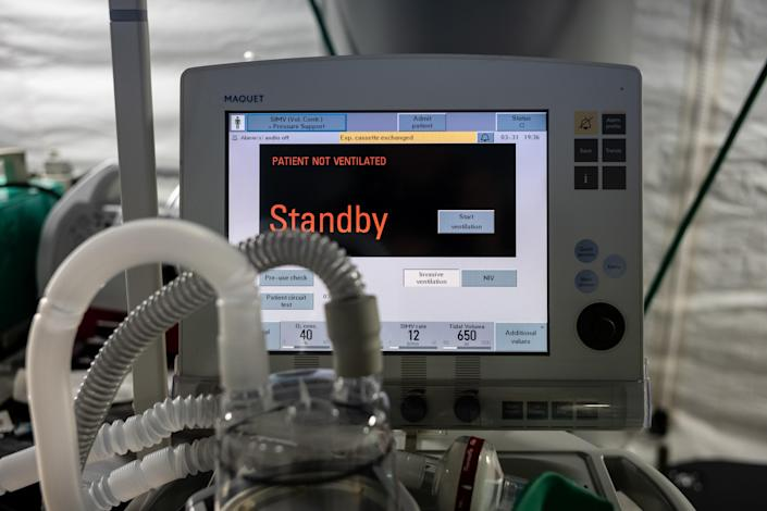 A ventilator and other hospital equipment is seen in an emergency field hospital to aid in the COVID-19 pandemic in Central Park on March 31, 2020 in New York, United States. (Misha Friedman/Getty Images)