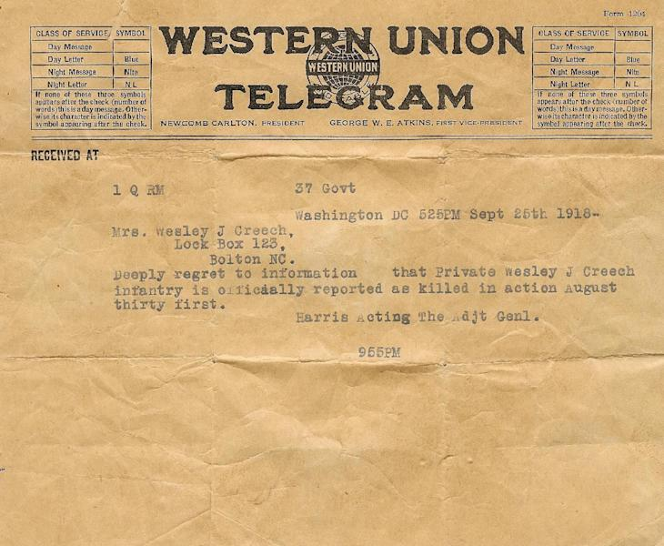 In this photo of a Western Union telegram from the collection of Patrick Lernout, dated Sept. 25, 1918 it informs the family of the death of American World War One soldier Wesley Creech. Creech served on the front line in Belgium when the American army was pushing the Germans back in 1918. In August 1918 he was killed by an enemy bullet in the head. On Wednesday, March 26, 2014, President Barack Obama will honor Creech and other Americans who died in a struggle so all-encompassing, so horrific, it simply became known as the Great War. (AP Photo)