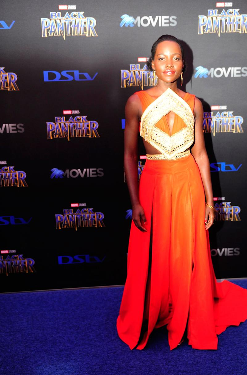 Lupita Nyong'o What: Kevin Mayes Where: At the Black Panther premiere, Fourways, South Africa When: February 16, 2018