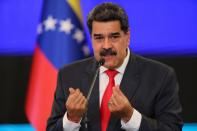 FILE PHOTO: Venezuelan President Nicolas Maduro holds a press conference in Caracas