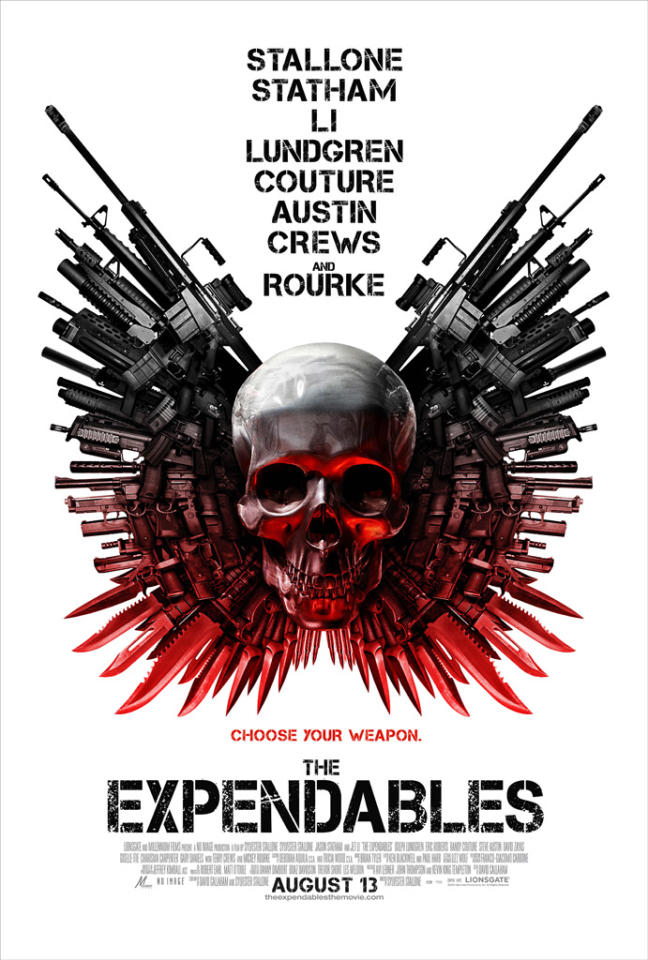 """The Best:  <a href=""""http://movies.yahoo.com/movie/1808411960/info"""">THE EXPENDABLES</a>    Sure, it looks like it belongs on the back of an Ed Hardy shirt, but it communicates everything you need to know -- and no old-school action movie fan could resist a lineup of stars like that."""