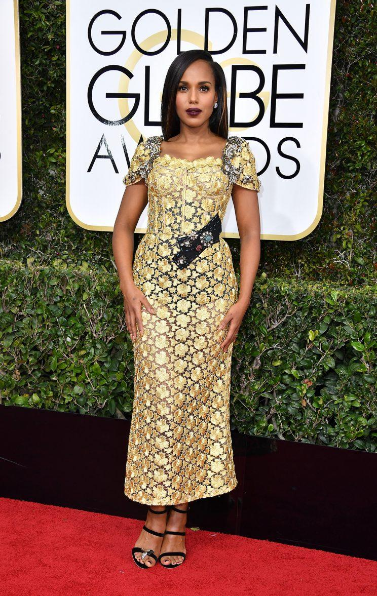 Kerry Washington on the Golden Globes red carpet. (Photo by Steve Granitz/WireImage)