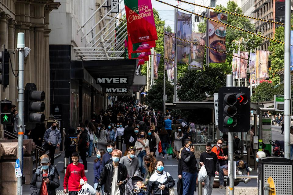A view of a crowded Bourke Street mall on Saturday with people going through a shopping day. Source: Getty