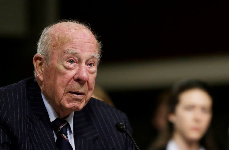 Former United States Secretary of State George Shultz testifies at the Senate Armed Services Committee on global challenges and U.S. national security strategy on Capitol Hill in Washington