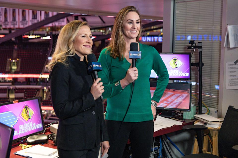 """<div class=""""caption""""> Mleczko, right, with play-by-play analyst Kate Scott </div> <cite class=""""credit"""">Timothy Hiatt / NBC Sports</cite>"""