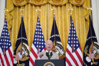 President Joe Biden speaks about the July jobs report during an event in the East Room of the White House, Friday, Aug. 6, 2021, in Washington. (AP Photo/Evan Vucci)