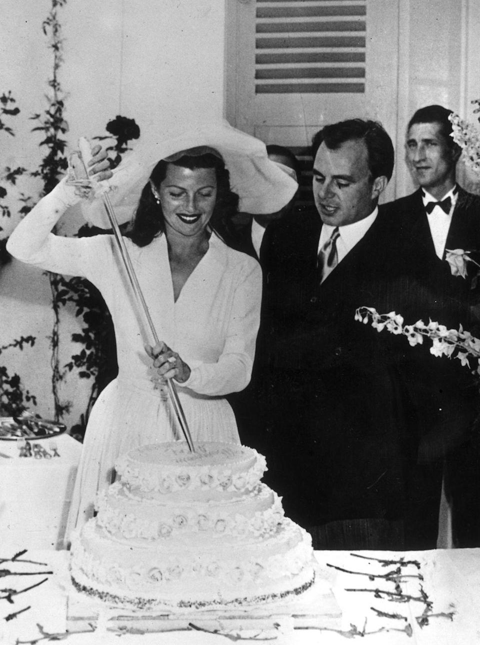 <p>The glamorous movie star of the 1940s married into royalty on May 28th, 1949. Her union to Prince Aly Khan, son of Sultan Mahommed Shah, was her third marriage and his second. The couple divorced in 1953. She went on to have two more marriages, while he never walked down the aisle again.</p>