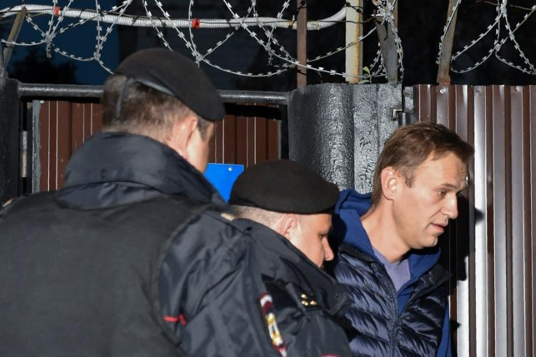 Navalny is due to appear in court later on Monday following his detention on his release from jail