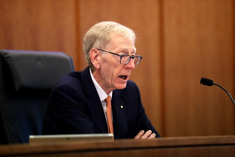 Commissioner Kenneth Hayne makes his opening statements during the Round 5 hearing of the Royal Commission into Misconduct in the Banking, Superannuation and Financial Services Industry at the Commonwealth Law Courts building in Melbourne, Monday, August 6, 2018. (AAP Image/The Australian Pool, David Geraghty) NO ARCHIVING