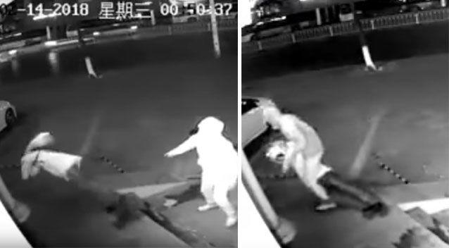 Their burglary takes an unsuspected turn when one of the men is accidentally knocked out by the other man's brick. Source: Weibo/ Shanghai Municipal Police