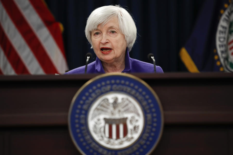 FILE - In this Dec. 13, 2017 file photo, Federal Reserve Chair Janet Yellen speaks during a news conference following the Federal Open Market Committee meeting in Washington. When Yellen leaves the Federal Reserve this weekend after four years as chair, her legacy will include being the first woman to have led the world's most powerful central bank. She will be remembered, too, for her achievements in deftly steering the Fed's role in the U.S. economy's rebound from a crushing financial crisis and recession. (AP Photo/Carolyn Kaster, File)