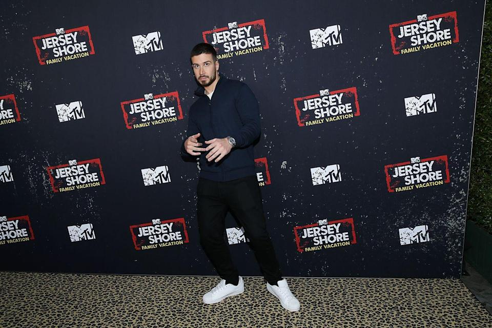 """<p>Vinny's net worth is an impressive $5 million, according to good ol' <a href=""""https://www.celebritynetworth.com/richest-celebrities/vinny-guadagnino-net-worth/"""" rel=""""nofollow noopener"""" target=""""_blank"""" data-ylk=""""slk:Celebrity Net Worth"""" class=""""link rapid-noclick-resp""""><em>Celebrity Net Worth</em></a>—up from $3 million just last year. Makes sense, because he's been busy! Vinny joined the cast of <em>Jersey Shore: Family Reunion</em>, did a month-long residency as a Chippendales guest host in Las Vegas, and is on <em>Double Shot at Love </em>with Pauly D.</p><p>Meanwhile, <a href=""""https://radaronline.com/exclusives/2012/06/jersey-shore-stars-earnings-how-much-do-they-make/"""" rel=""""nofollow noopener"""" target=""""_blank"""" data-ylk=""""slk:Radar Online"""" class=""""link rapid-noclick-resp""""><em>Radar Online</em></a> reports he made $90,000 per episode by the end of <em>Jersey Shore</em><em>.</em></p>"""