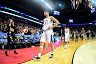 <p>Ty Jerome #11 of the Virginia Cavaliers exits the court after their 74-54 loss to the UMBC Retrievers during the first round of the 2018 NCAA Men's Basketball Tournament at Spectrum Center on March 16, 2018 in Charlotte, North Carolina. (Photo by Jared C. Tilton/Getty Images) </p>