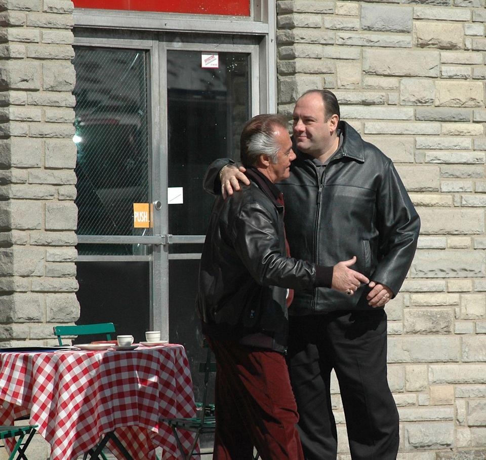 """<p>Real fans will take one look at that tablecloth and know exactly where Gandolfini and Tony Sirico, who played Peter Paul """"Paulie Walnuts"""" Gualtieri, are filming: Satriale's Pork Store.</p>"""