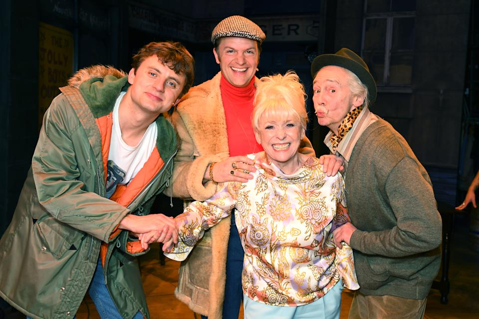 """Ryan Hutton, Barbara Windsor, Tom Bennett and Paul Whitehouse pose as Barbara Windsor meets the cast of """"The Only Fools and Horses the Musical"""" on April 03, 2019 in London, United Kingdom. (Photo by Dave J Hogan/Dave J Hogan/Getty Images)"""