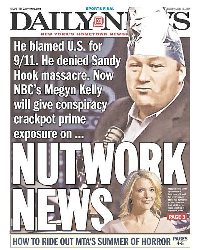 The cover of Tuesday's New York Daily News (Courtesy Newseum.org)