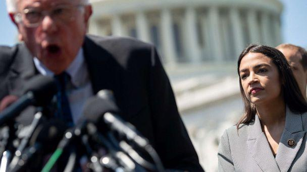 PHOTO: In this file photo taken on June 24, 2019. Sen. Bernie Sanders, I-Vt., speaks alongside Representative Alexandria Ocasio-Cortez, D-N.Y., during a press conference to introduce college affordability legislation outside the U.S. Capitol. (Saul Loeb/AFP via Getty Images)