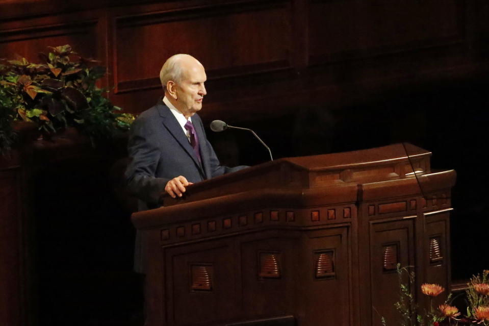 FILE - In this Oct. 5, 2019 file photo, President Russell M. Nelson speaks during The Church of Jesus Christ of Latter-day Saints' twice-annual church conference in Salt Lake City. For the third consecutive time, The Church of Jesus Christ of Latter-day Saints will hold its signature conference this weekend without attendees in person as the faith continues to take precautions amid the pandemic. Members of the Utah-based faith will instead watch on TVs, computers and tablets from their homes around the world Saturday, April 3, 2021 to hear spiritual guidance from the religion's top leaders, who will be delivering the speeches in Salt Lake City. (AP Photo/Rick Bowmer, File)