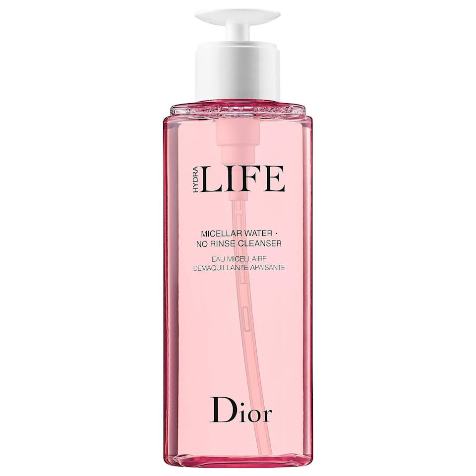 "<p>Just swipe this <a href=""https://www.popsugar.com/buy/Dior-Hydra-Life-Micellar-Water-Rinse-Cleanser-586897?p_name=Dior%20Hydra%20Life%20Micellar%20Water%20No%20Rinse%20Cleanser&retailer=sephora.com&pid=586897&price=43&evar1=bella%3Aus&evar9=47595992&evar98=https%3A%2F%2Fwww.popsugar.com%2Fphoto-gallery%2F47595992%2Fimage%2F47595999%2FDior-Hydra-Life-Micellar-Water-No-Rinse-Cleanser&list1=sephora%2Ccleanser%2Cbeauty%20shopping%2Cskin%20care&prop13=api&pdata=1"" class=""link rapid-noclick-resp"" rel=""nofollow noopener"" target=""_blank"" data-ylk=""slk:Dior Hydra Life Micellar Water No Rinse Cleanser"">Dior Hydra Life Micellar Water No Rinse Cleanser</a> ($43) on with a cotton pad, and its micelles and soothing echinacea flower extract wash away makeup and other impurities without stripping skin.</p>"