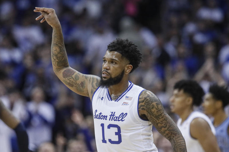 Seton Hall's Myles Powell reacts after scoring during the first half of an NCAA college basketball game against Villanova, Wednesday, March 4, 2020, in Newark, N.J. (AP Photo/John Minchillo)