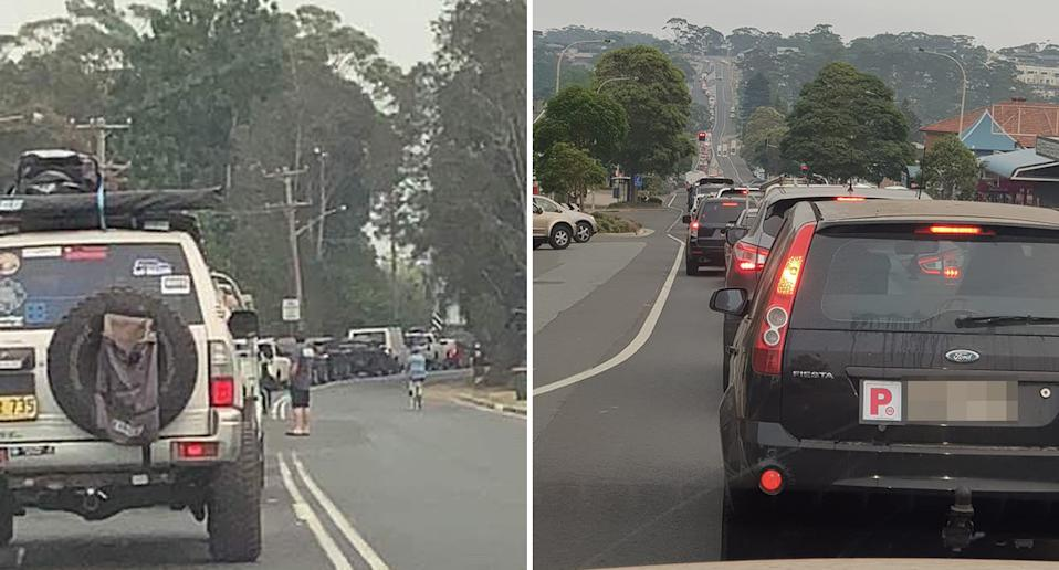 Photos shared to NSW south coast community Facebook groups showed standstill traffic on Thursday morning.