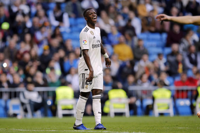 Real Madrid's Vinicius Junior reacts during a round of 32, 2nd leg, Spanish Copa del Rey soccer match between Real Madrid and Melilla at the Santiago Bernabeu stadium in Madrid, Spain, Thursday, Dec. 6, 2018. (AP Photo/Paul White)