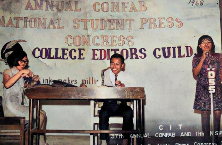 Earnest's mother, Evelyn, with colleagues at the College Editors Guild of the Philippines. She was editor-in-chief of the Philippine Normal College's newspaper. | Earnest Zabala