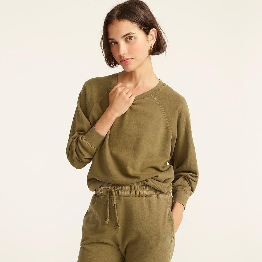 """<br><br><strong>J. Crew</strong> Magic Rinse™ crewneck sweatshirt, $, available at <a href=""""https://go.skimresources.com/?id=30283X879131&url=https%3A%2F%2Fwww.jcrew.com%2Fp%2Fwomens%2Fcategories%2Fclothing%2Fsweatshirts-and-sweatpants%2Fmatching-sets%2Fmagic-rinse-crewneck-sweatshirt%2FAY080%3Fdisplay%3Dstandard%26fit%3DClassic%26color_name%3Dwarm-taupe%26colorProductCode%3DAY080"""" rel=""""nofollow noopener"""" target=""""_blank"""" data-ylk=""""slk:J. Crew"""" class=""""link rapid-noclick-resp"""">J. Crew</a>"""