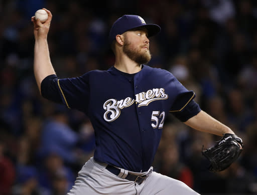 Brewers starting pitcher Jimmy Nelson is lost for the season with a shoulder injury. (AP)