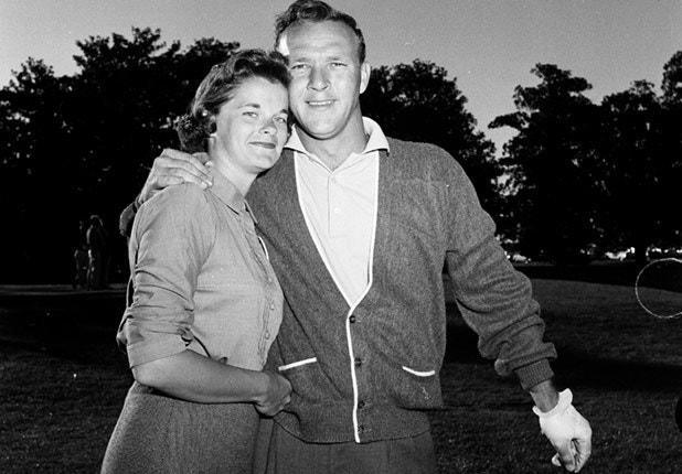 The Palmers pose at the 1958 Masters.
