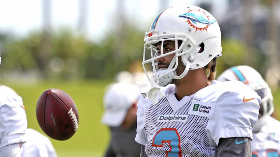 Miami Dolphins wide receiver Will Fuller (3) looks on during NFL football practice, Wednesday, Sept. 15, 2021, in Miami Gardens, Fla. The Dolphins host the Buffalo Bills on Sunday. (David Santiago/Miami Herald via AP)