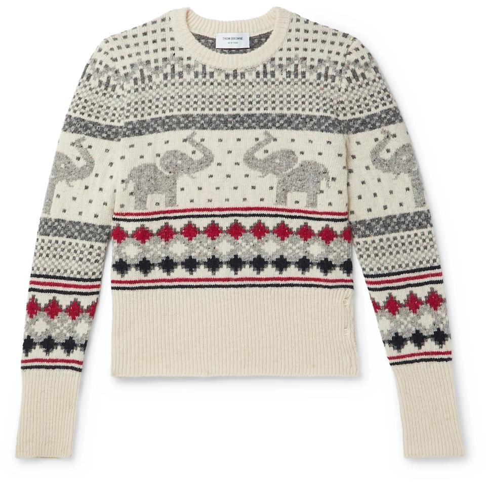Thom Browne Fair Isle Wool and Mohair-Blend Sweater