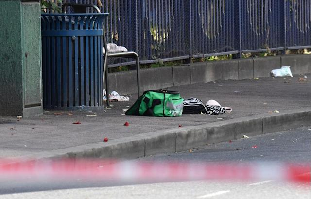 Clothing and a paramedic bag at the scene of the stabbing on Anglesea Road, Woolwich, south-east London (Picture: PA)