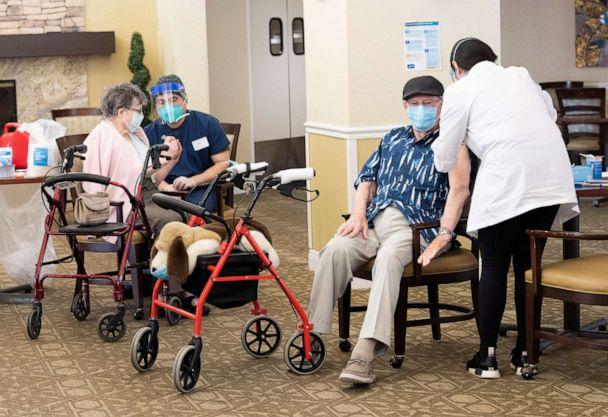 PHOTO: Emerald Court senior living community residents get the Pfizer/BioNTech COVID-19 vaccine in Anaheim, Calif. on Jan. 8, 2021. (Orange County Register/MediaNews Group via Getty Images)