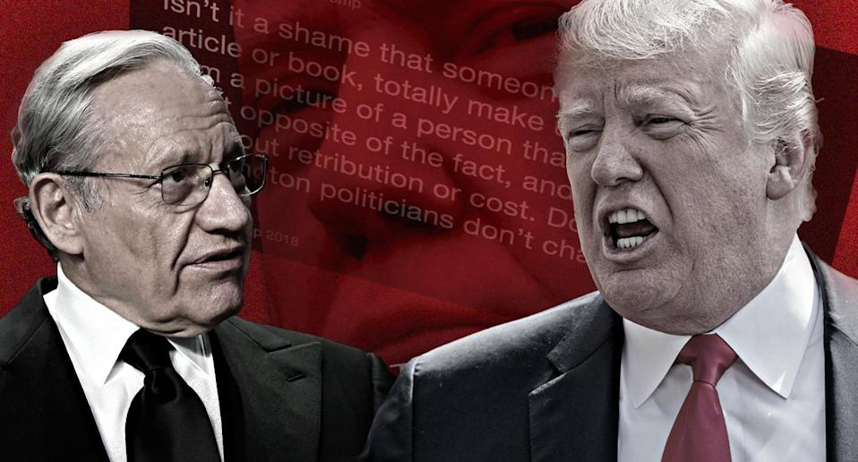 Bob Woodward, Donald Trump. (Photo illustration: Yahoo News; photos: Jonathan Ernst/Reuters, Andrew Harrer/Bloomberg via Getty Images, Donald Trump via Twitter, Simon & Schuster via AP)