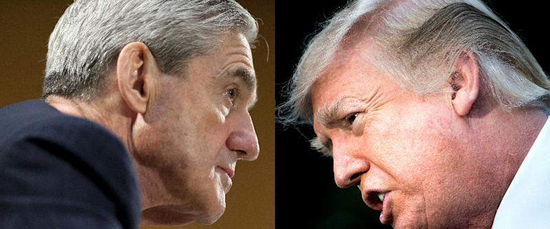 US President Donald Trump (R) feared that the investigation led by Special Counsel Robert Mueller (L) would end his presidency, according to Mueller's final report