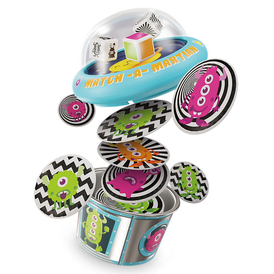 "<p>Refresh family game night with this easy tabletop game — just roll the dice and grab an alien card that matches the characteristics on each die. The best part is that the dice are in a bubble that ""pops"" when you push it (fun, and also makes it so you don't lose the die at Grandma's house).</p><p><em>Ages 5+<br>$10<br>Available Spring 2021</em></p>"