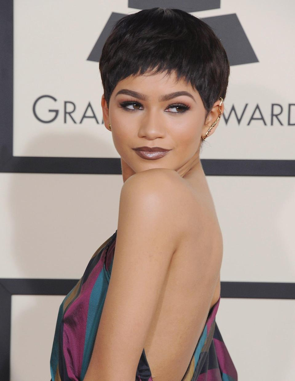 "<p><a class=""link rapid-noclick-resp"" href=""https://www.popsugar.com/Zendaya"" rel=""nofollow noopener"" target=""_blank"" data-ylk=""slk:Zendaya"">Zendaya</a> rocked an adorable pixie cut at the Grammy Awards in 2015 (though she quickly assured fans that <a href=""http://www.etonline.com/awards/grammys/159376_zendaya_debuts_dramatic_pixie_do_at_the_grammys"" class=""link rapid-noclick-resp"" rel=""nofollow noopener"" target=""_blank"" data-ylk=""slk:she didn't actually cut her hair"">she didn't <em>actually </em>cut her hair</a>). </p>"