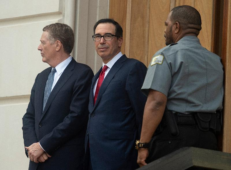 US Trade Representative Robert Lighthizer (L) and Treasury Secretary Steven Mnuchin met with China's Vice Premier Liu He to try to resolve a year-long trade dispute