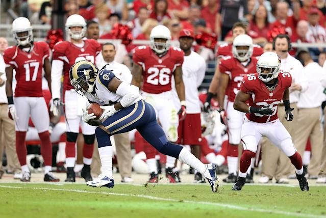 GLENDALE, AZ - NOVEMBER 25: Cornerback Janoris Jenkins #21 of the St. Louis Rams returns a 36 yard touchdown interception past LaRod Stephens-Howling #36 of the Arizona Cardinals during the second quarter of the NFL game at the University of Phoenix Stadium on November 25, 2012 in Glendale, Arizona. (Photo by Christian Petersen/Getty Images)