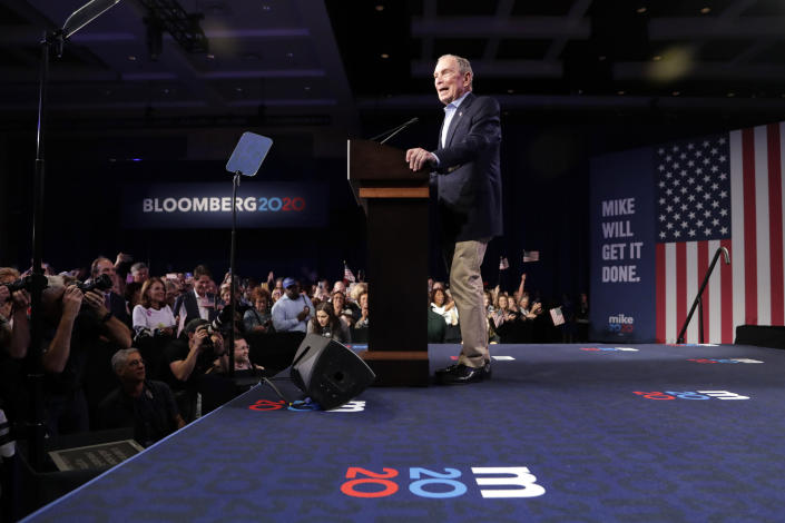 Democratic presidential candidate former New York City Mayor Mike Bloomberg speaks at a primary election night campaign rally Tuesday, March 3, 2020, in West Palm Beach, Fla. (AP Photo/Lynne Sladky)