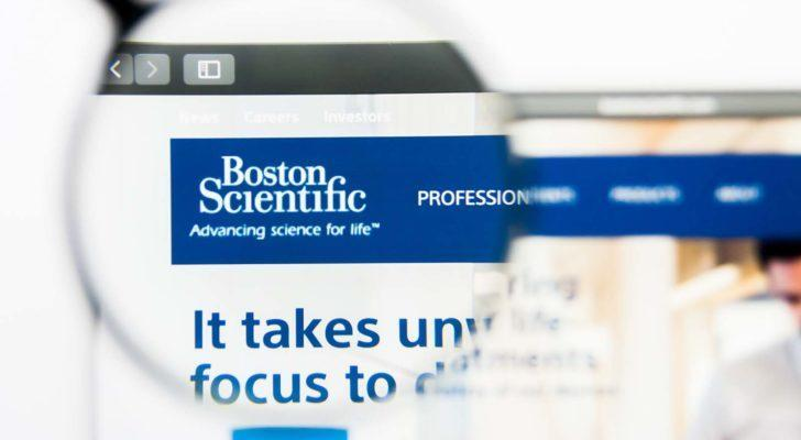 a zoom-in on the Boston Scientific logo (BSX) on a web page